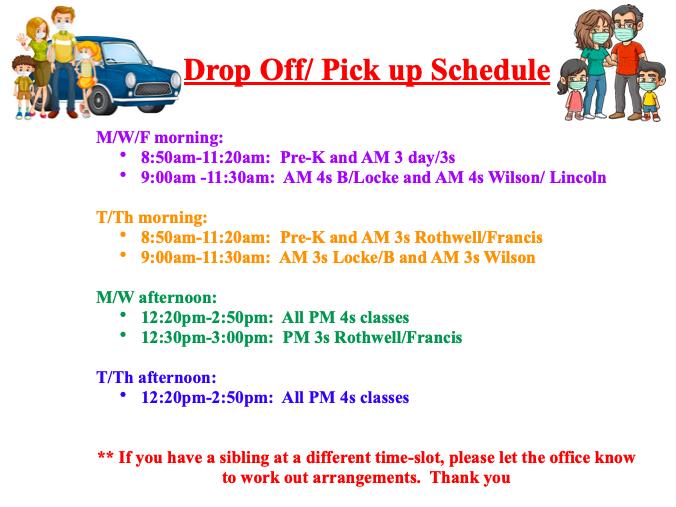 Drop-off/Pick-up Schedule